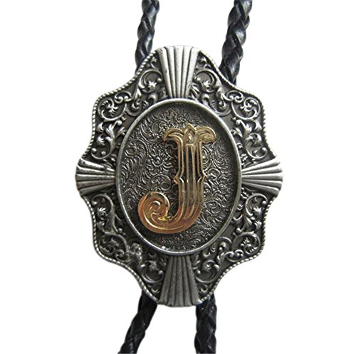Scheppend Classical Gold Plated Capital Letters Western Cowboy Bolo Tie,Letter J