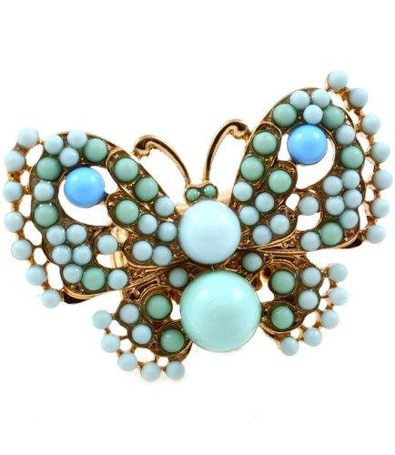 Adjustable Turquoise Blue Beaded Butterfly Goldtone Stretch ()