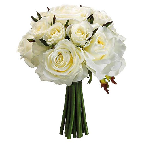 IVORY Roses Bridal Hand Tied Bouquet Silk Wedding Flowers Bridesmaid Toss NEW