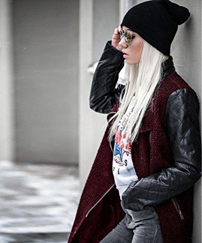 Sweatshirt Cappuccio Red A Maglione Odejoy Cappotto Collo Asimmetrica Cerniera Pullover Sportive Lunga Casual Giacca Donna Maglie Elegante Alto Chiusura Felpa Manica Con 7ApqSt