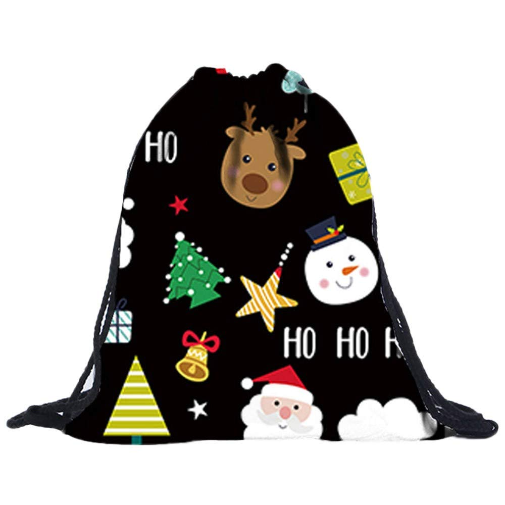 Christmas Drawstring Gift Bags Clearance, Iuhan Xmas 3D Digital Santa Sack Backpack Goody Treat Bags Backpack Drawstring Bag for Party Favors and Candy (D)