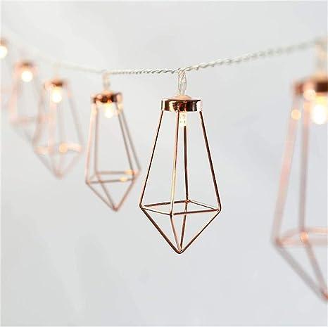 Rose Gold Geometric Boho LED dormitorio luces de hadas con ...