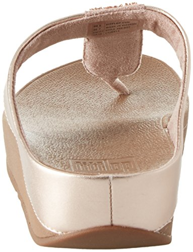 Fitflop Sparklie Roxy Toe Post, Chanclas Para Mujer Rosa (Rose Gold)