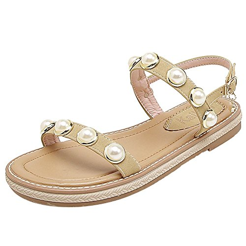 Carolbar Women's New Style Beaded Flat Ankle-Strap Buckle Sandals Beige kF55u