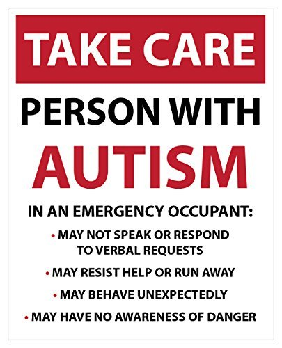 hiusan Large Take Care- Person With Autism, Emergency/Safety Car Van Bike Sticker Decal
