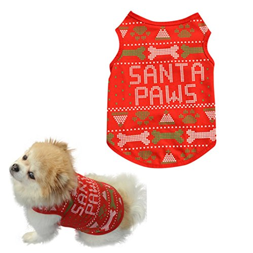 Image of BEAUTYVAN Dog Clothes, Cute Christmas Bones Cute Dog Pet Vest Puppy Cotton T Shirt (L, Red)