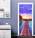 "3D Bridge Sky 418 Door Wall Mural Photo Wall Sticker Decal Wall | Self-adhesive 3D Door Wall Mural , AJ WALLPAPER US Lemon (Vinyl (No Glue & Removable), 【81""x32""】205x82cm(HxW))"