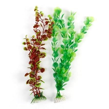 eDealMax 2-pieza de plástico Bajo el agua del acuario Las malas hierbas Planta Conjunto