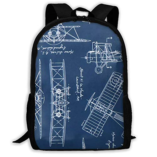 (Blue Vintage Blueprints Airplane Draft Plan Fabric Durable College Rucksack Water Resistant Camping Backpacks)