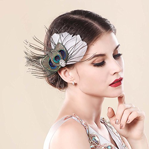 Aukmla Peacock Feather Headpieces, Fascinator Hair Accessories for Women and Girls ,multi