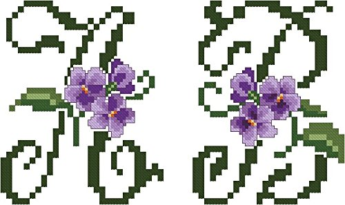 ThreaDelight ABC Embroidery Designs Set - Violets Large Alphabet Cross-Stitch Machine Embroidery Designs - Uppercase Letters - 5