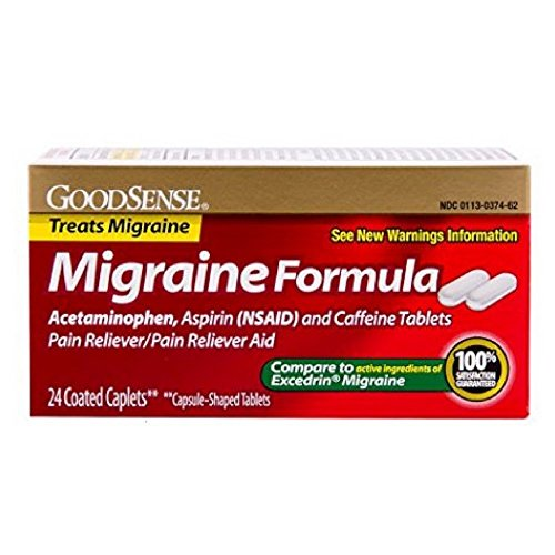 GoodSense Migraine Formula Caplets, Acetaminophen, Asprin (NSAID) and Caffeine Tablets, 24-count