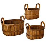 Diva At Home One Set of 3 Brown Nested Apple Basket with Faux Leather Handles Set 13''