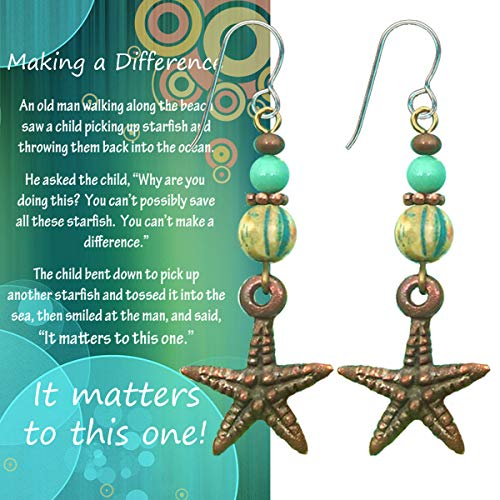 Starfish Earrings with Poem Story Card Volunteer or Gratitude Gift for Women Who Make a Difference