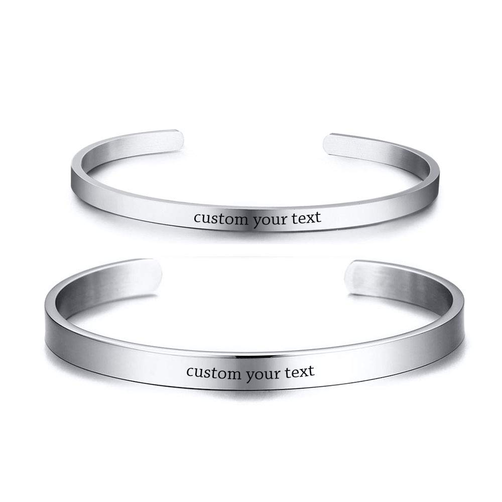 Mealguet Jewelry Customized Stainless Steel His and Hers Name Quote Matching Couples Open Cuff Bange Bracelets for Him &her,Polished