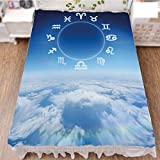 Bed Skirt Cover 3D Print,Pisces Aries with Sky Clouds Backdrop Art Print,Best Modern Style Bed Skirt for Men and Women by 47.2''x78.7''