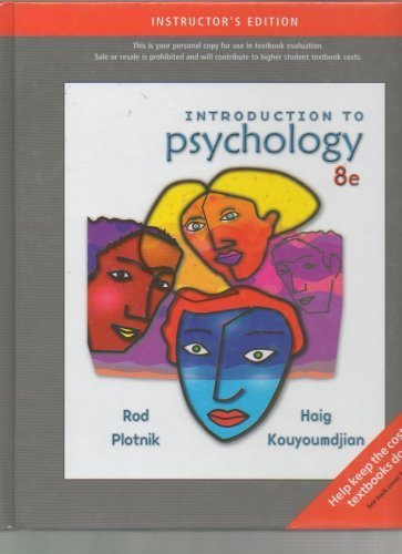 Introduction to Psychology Instructor's Edition.