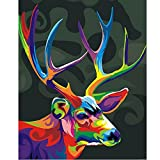SUBERY DIY Oil Painting Paint by Numbers Kits for Adults Kids Beginner - Colorful Deer Head 16x20 inches (Frameless)