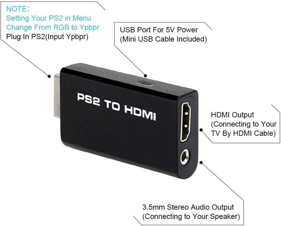 SOUTHSKY Mini PS2 a HDMI Conversor de vídeo Adaptador con 3,5 mm Salida de Audio para 480p TV HDMI Monitor: Amazon.es: Videojuegos