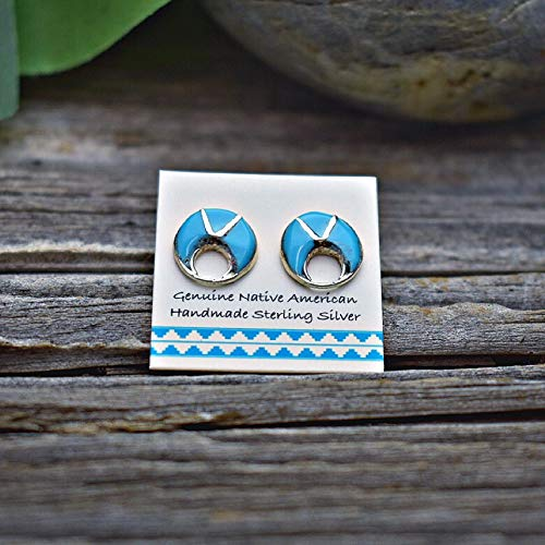 (8mm Genuine Sleeping Beauty Turquoise Stud Earrings in 925 Sterling Silver, Round Inlay, Authentic Navajo Native American, Handmade in the USA, Nickle Free )
