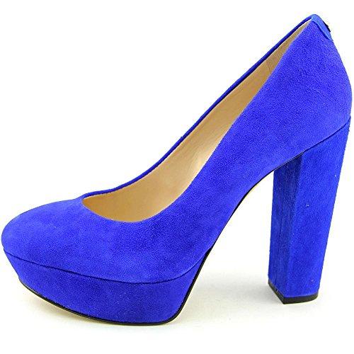 Scarpe Da Donna Décolleté In Pelle Scamosciata Blu A Punta Chiusa Per Donna