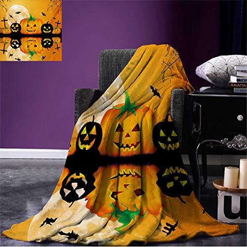 Anniutwo Halloween Cool Blanket Spooky Carved Halloween Jack