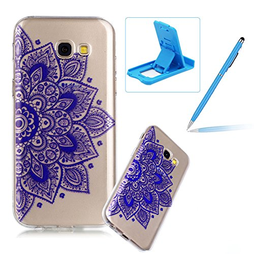 Price comparison product image Clear TPU Case for Galaxy A5 2017, Soft Soft Gel Bumper Cover for Galaxy A5 2017, Herzzer Ultra Slim Stylish [Blue Mandala Pattern] Shock-Absorbing Anti-Scratch Flexible Rubber Silicone Transparent Case
