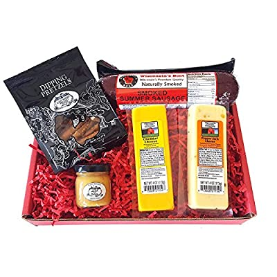 Classic Man Snack Gift Basket-Summer Sausage, Wisconsin Cheeses, Dipping Pretzels and Sweet & Tangy Mustard - Perfect Snack or Gift