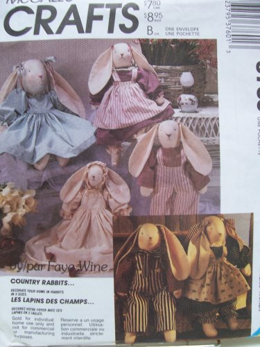 McCall's Crafts Pattern # 3760 ~ Stuffed Country Rabbits in Three Sizes by Faye Wine (Pattern Country Doll)