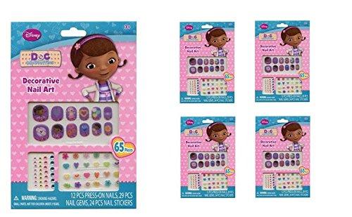 Doc McStuffins 65 pcs Decorative Nail Art Nail Stickers and Gems x 4 packs]()