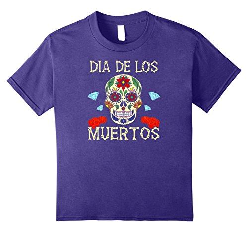 Dia De Los Muertos Costume Girl (Kids Sugar Skull Halloween Costume Dia De Los Muertos T-Shirt 8 Purple)