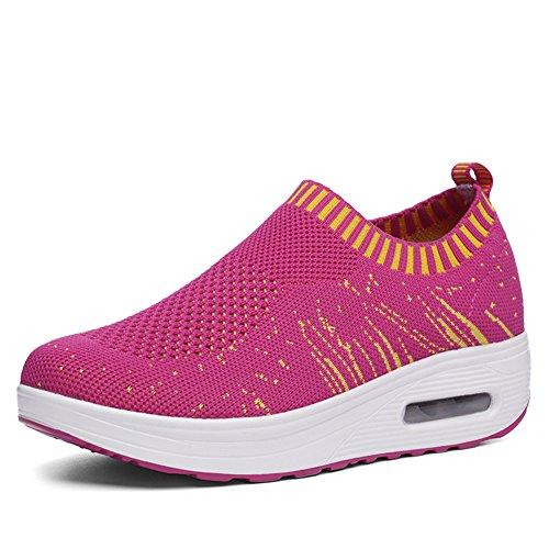Zapatos Rosa de de Transpirables Zapatillas Deporte Roja Correr para Ligeras y Mujer rrxTwv1