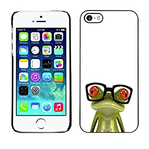 ZIZZLE Prima Delgada SLIM Casa Carcasa Funda Case Bandera Cover Armor Shell PC / Aliminium | Funny Glasses Frog | Apple Iphone 5 / 5S