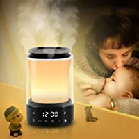 Alarm Clock Wake Up Light-Sunrise/Sunset Simulation humidified Aromatherapy LED Table Bedside Lamp Eyes Protection,6Modes Color Changing,6 Nature Sounds and Touch Control Function USB