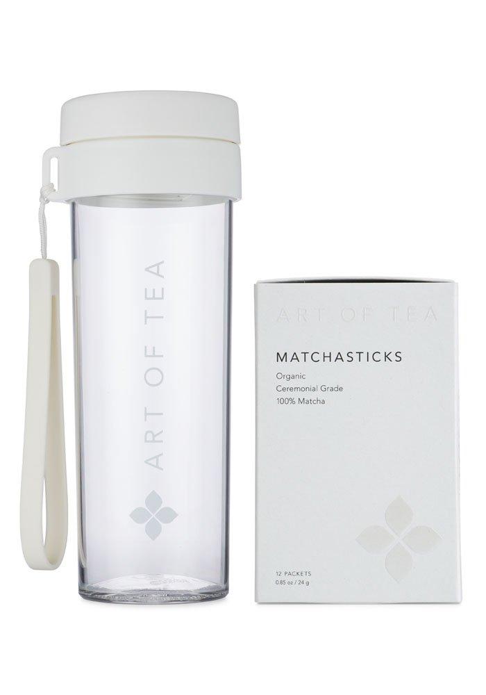 Art of Tea - Organic Ceremonial Grade Matcha Powder - Matchasticks - 12 single serve matcha packets and Matcha Shaker Bottle