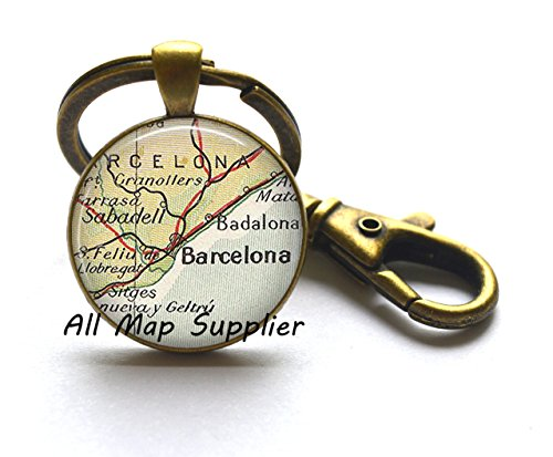Charming Keychain Barcelona map Key Ring, Barcelona Keychain, Barcelona, Spain map jewelry, Barcelona Key Ring - Gift Online Australia Vouchers