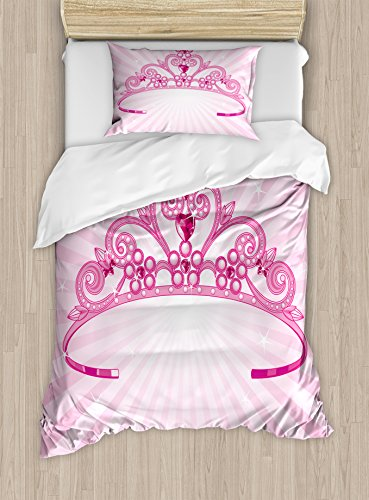 The Shining Twins Costumes (Kids Duvet Cover Set Twin Size by Ambesonne, Beautiful Shining Pink Fairy Princess Costume Crown with Diamond Figures Girls Print, Decorative 2 Piece Bedding Set with 1 Pillow Sham, Pink Fuchsia)