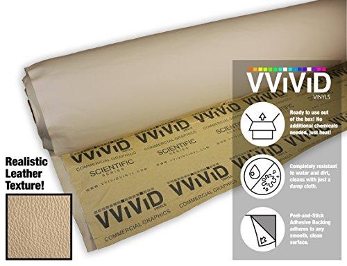 (VViViD Beige Adhesive Weatherproof Faux Leather Marine Vinyl (1.49ft x 54