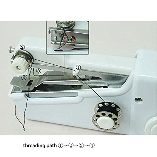 Sewing device for Kids Professional Handheld AUKAY short Stitch resource for young children and adults short Stitch resource for many Fabric compact for moving around and family home White Sewing Machines