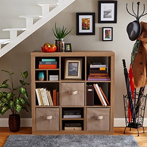 Better Homes and Gardens 9-cube Organizer Storage Bookcase Bookshelf Cabinet Divider (1, Weathered)