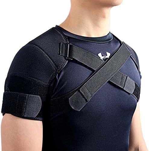 Kuangmi Double Shoulder Support Brace Strap Wrap Neoprene Protector (Large)