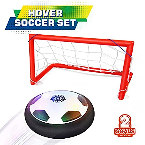 Bonwayer Kids Sports Toys Soccer Football Goal Set Hover Ball with 2 Gates for Kid Gifts Boys Girls Air Power Training Ball Indoor Outdoor Disk Game with LED Lights and Mini - Power Air Hockey