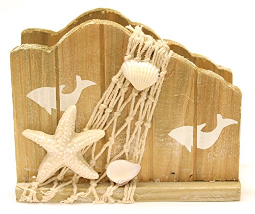 5-Inch-Wooden-Nautical-Napkin-Holder-with-Shells-Netting-and-Dolphin-Design