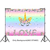 Aytai 7x5ft Unicorn Themed Photo Backdrop Birthday Party Background Unique LOVE Floral Design for Baby Shower Dessert Table Decoration Rainbow Unicorn Party Supplies
