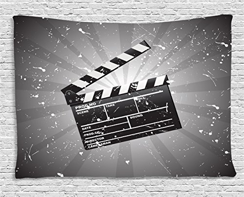 Ambesonne Movie Theater Tapestry, Clapper Board on Retro Backdrop with Grunge Effect Director Cut Scene, Wall Hanging for Bedroom Living Room Dorm, 80 W X 60 L inches, Grey Black White by Ambesonne