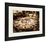 Ashley Framed Prints Fish Market Food, Wall Art Home Decoration, Sepia, 26x30 (frame size), AG6537628