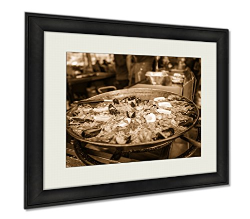 Ashley Framed Prints Fish Market Food, Wall Art Home Decoration, Sepia, 26x30 (frame size), AG6537628 by Ashley Framed Prints