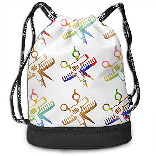 Polyester Drawstring Backpack Theft Proof Water Resistant Large Tote Cinch Sack Large Capacity For Basketball, Volleyball, Sports & Workout Gear (Scissors And Comb Hair Stylist Salon)