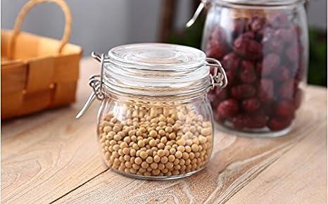 WJIANLL Los broches de presión del tanque de vidrio Contenedor de almacenamiento de té perfumado jarra de cristal olla dulce de granos gruesos,9*11cm ...