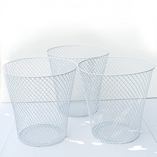 White Wire Mesh Waste Basket No Lid (3 Pack), Set of 3 Wastebasket